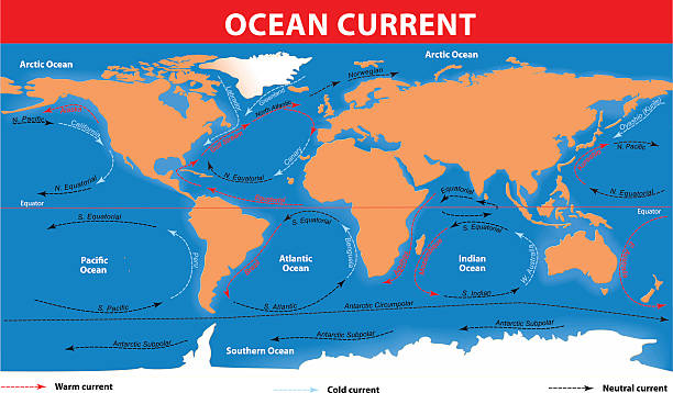 bildbanksillustrationer, clip art samt tecknat material och ikoner med ocean surface currents - map oceans