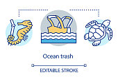 istock Ocean trash concept icon. Marine debris. Waterborne plastic pollution problem. Threat to fish, reptiles. Eco problem idea thin line illustration. Vector isolated outline drawing. Editable stroke 1216394235