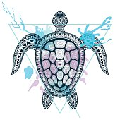 Ocean Turtle in triangle frame with watercolor ink drop. Hand Drawn doodle vector illustration. Sketch for tattoo or makhenda. Sea animal collection.