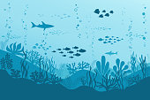 Ocean Underwater world with animals, Coral. Sea Background with Fishes, seaweed plants and Reefs. Vector