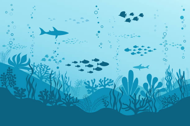 Ocean Underwater Background with Fishes, Sea plants and Reefs. Vector vector art illustration