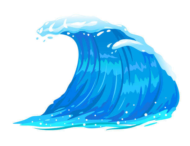 ocean wave isolated - blue clipart stock illustrations