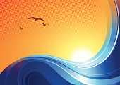 Bright blue sea designs beneath a golden sunset. Files included – jpg, ai (version 8 and CS3), svg, and eps (version 8)