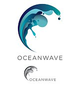 Abstract vector ocean wave emblem design in blue and teal tones including monochrome option
