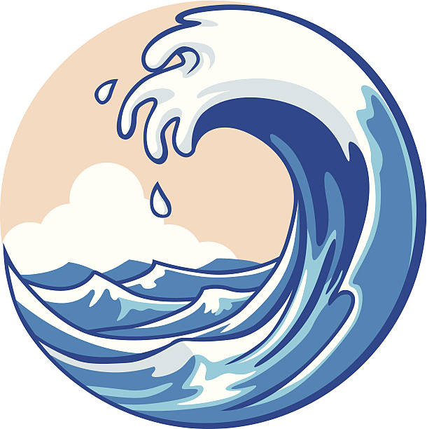 ocean wave - tidal wave stock illustrations, clip art, cartoons, & icons