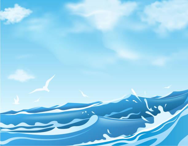 波しぶきを上げる海 - 海点のイラスト素材/クリップアート素材/マンガ素材/アイコン素材