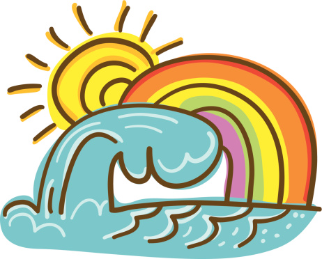 Ocean Wave with Rainbow Doodle