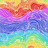 Seamless waves pattern. Abstract water background with curly hand-drawn lines. Colourful tide vector backdrop. Sea and ocean theme. Eps 8
