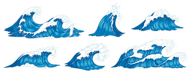 Ocean waves. Raging sea water wave, vintage storm waves and ripples tides hand drawn vector illustration Ocean waves. Raging sea water wave, vintage storm waves and ripples tides hand drawn. Tsunami wave, ocean tide or marine surfing splash. Vector illustration isolated icons set tide stock illustrations