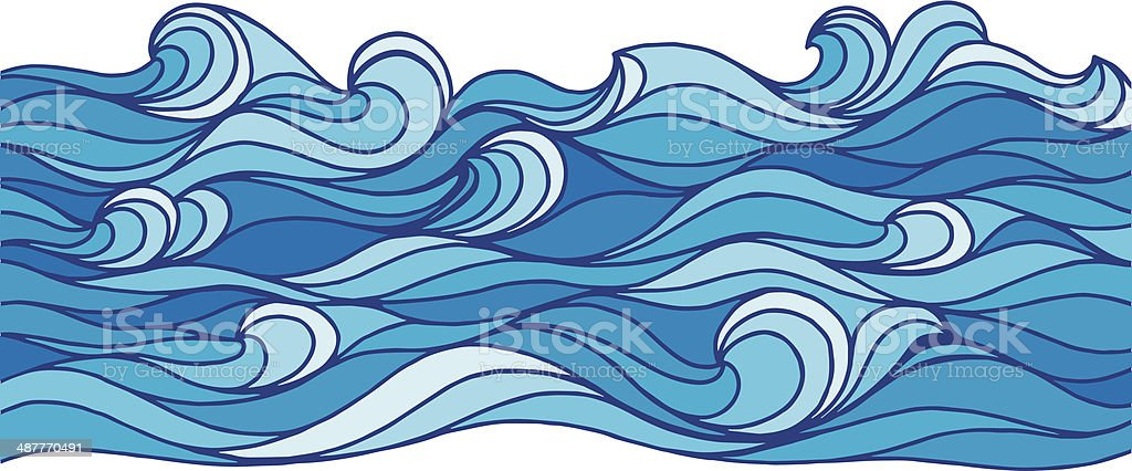 Ocean Waves vector art illustration