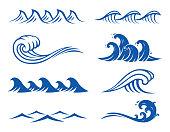 Vector ocean wave set. Including eight wave symbols.
