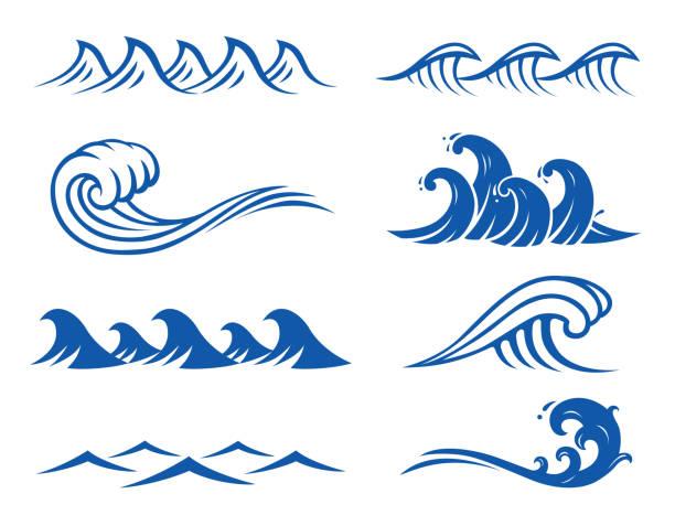 해양수 스택스  - 파도 stock illustrations