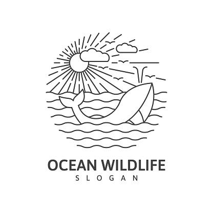Ocean wildlife whale monoline outdoor nature vector