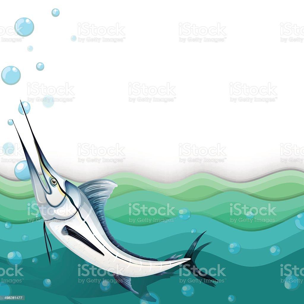 Ocean with a big fish vector art illustration