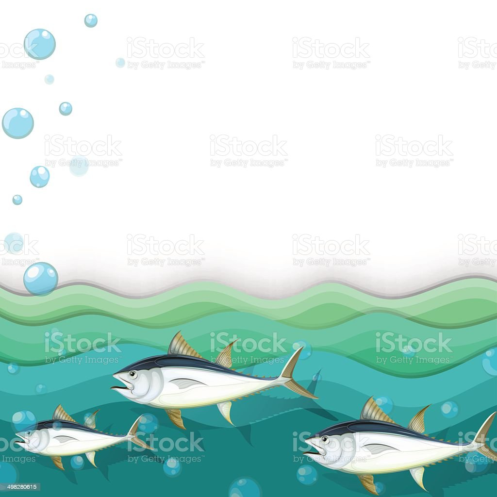 Ocean with fishes vector art illustration