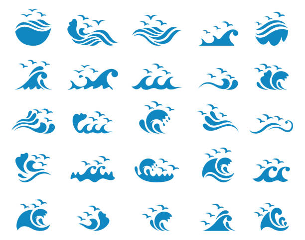 Ocean with seagulls icon set Ocean with seagulls icon set , vector illustration water bird stock illustrations