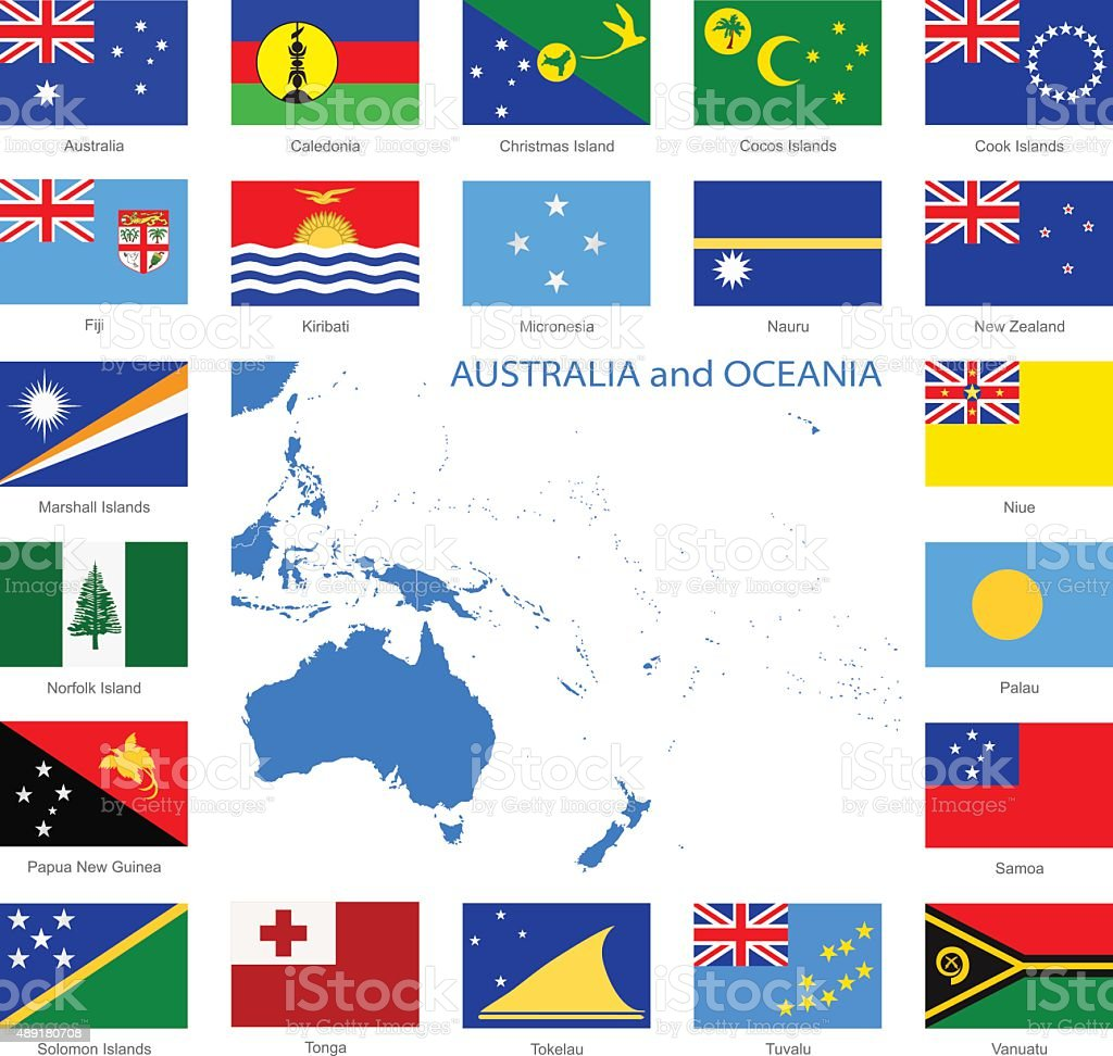 Oceania - Flags and Map - Illustration vector art illustration