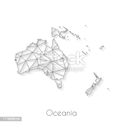 Oceania map created with a mesh of thin black lines and a light shadow, isolated on a blank background. Conceptual illustration of networks (communication, social, internet, ...). Vector Illustration (EPS10, well layered and grouped). Easy to edit, manipulate, resize or colorize.