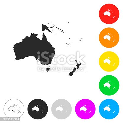 Map of Oceania isolated on white background. Includes 9 buttons with a flat design style for your design, in different colors (red, orange, yellow, green, blue, purple, gray, black, white, line art), each icon is separated on its own layer. Vector Illustration (EPS10, well layered and grouped). Easy to edit, manipulate, resize or colorize. Please do not hesitate to contact me if you have any questions, or need to customise the illustration. http://www.istockphoto.com/portfolio/bgblue