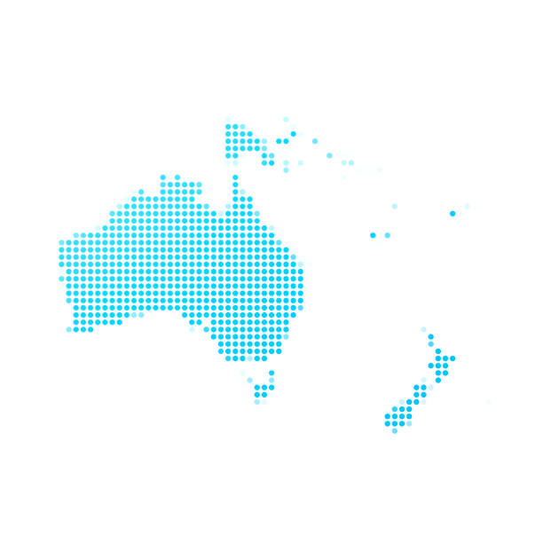 Oceania map of blue dots on white background vector art illustration