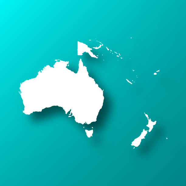 ilustraciones, imágenes clip art, dibujos animados e iconos de stock de mapa de oceanía sobre fondo verde azul con sombra - australia