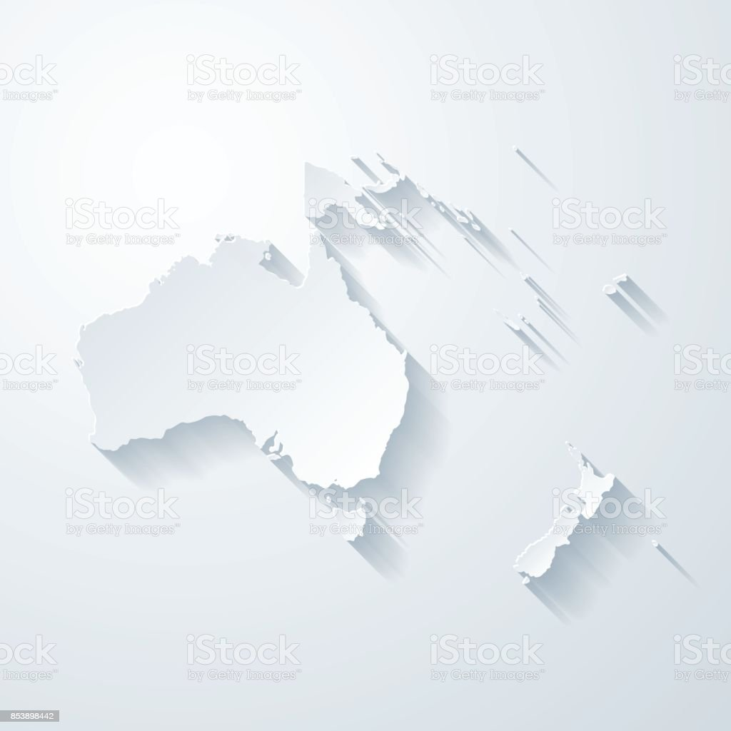 Oceania map with paper cut effect on blank background vector art illustration