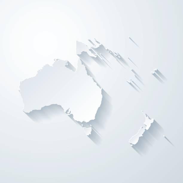 Mapa de Oceanía con papel cortado efecto sobre fondo blanco - ilustración de arte vectorial