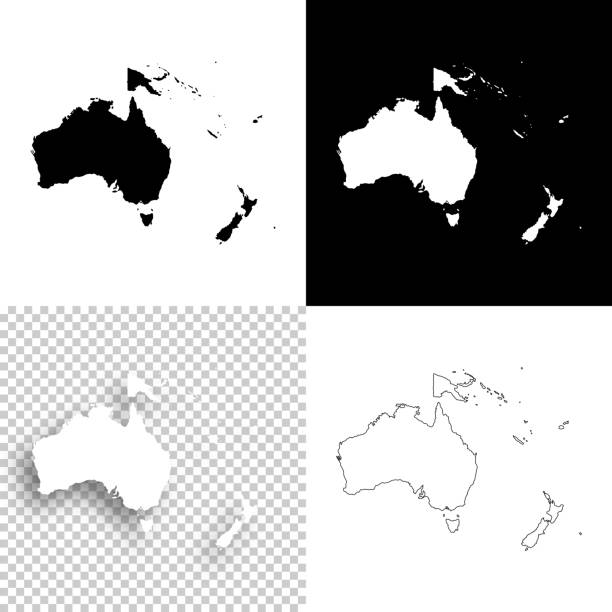 Oceania maps for design - Blank, white and black backgrounds vector art illustration