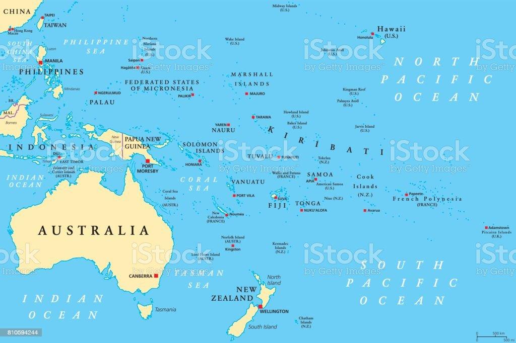 Oceania Political Map stock vector art 810594244 iStock
