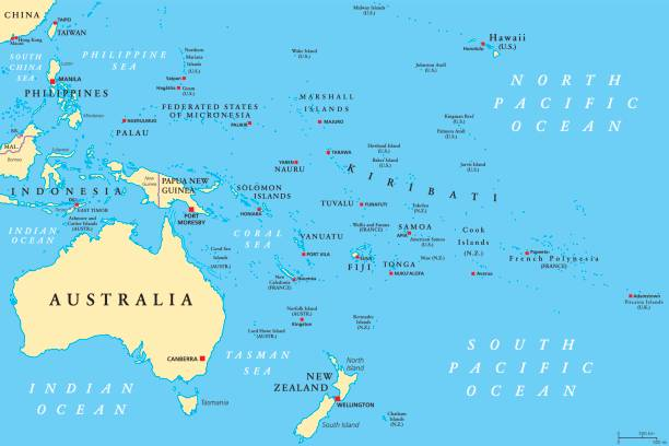 Oceania political map Oceania political map. Region, centered on central Pacific Ocean islands. With Melanesia, Micronesia and Polynesia, including Australasia and Malay Archipelago. Illustration. English labeling. Vector. continent geographic area stock illustrations