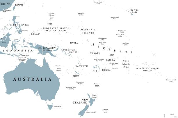 Oceania political map Oceania political map with countries. English labeling. Region, comprising Australia and the Pacific islands with the regions Melanesia, Micronesia and Polynesia. Gray illustration over white. Vector. oceania stock illustrations