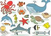 Oceanic animals kids drawings