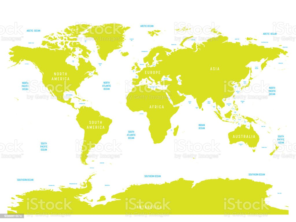 Picture of: Oceanographical Map Of World With Labels Of Oceans Seas Gulfs Bays And Straits Vector Map With Green Lands And White Water Stock Illustration Download Image Now Istock