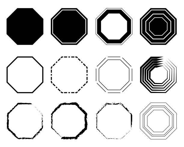 stockillustraties, clipart, cartoons en iconen met octagon icon pack. meetkunde achthoekige acht zijdige veelhoek achthoek lijn. vectorillustratie - achthoek