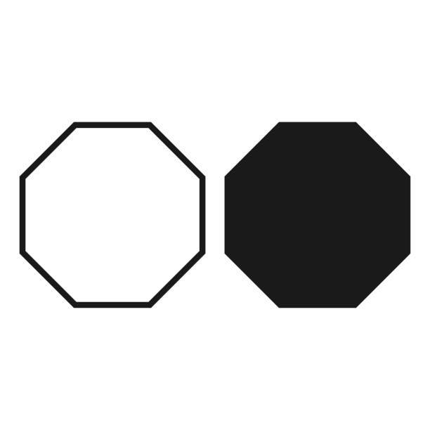 stockillustraties, clipart, cartoons en iconen met octagon pictogram. vector - vector - achthoek