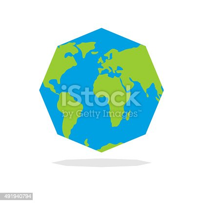 istock Octagon Planta  earth. World map in geometric figure. 491940794