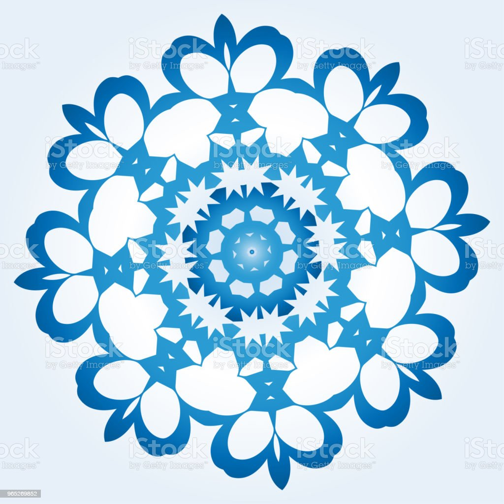 octagonal blue and white snowflake on light blue gradient background royalty-free octagonal blue and white snowflake on light blue gradient background stock illustration - download image now