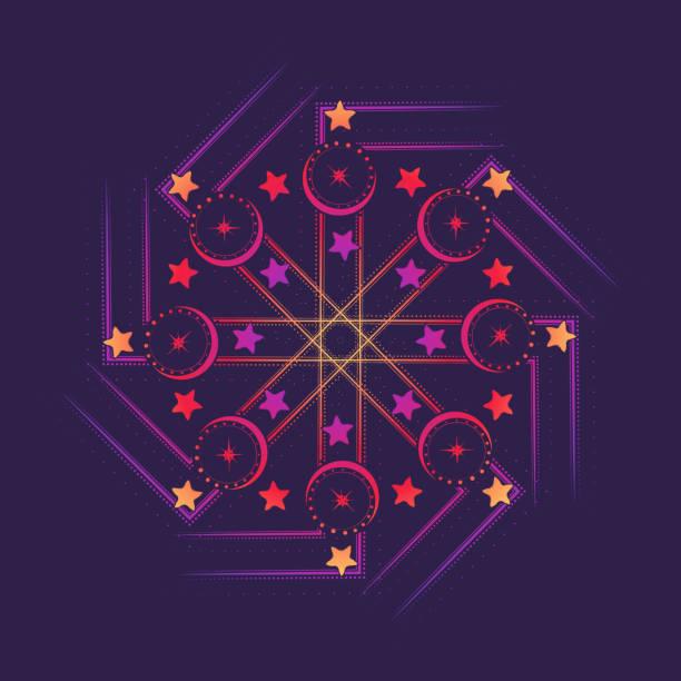 achteckige hakenkreuz mit mond und sternen. multikulturelle symbol für solar kult und fruchtbarkeit. - kultfilme stock-grafiken, -clipart, -cartoons und -symbole