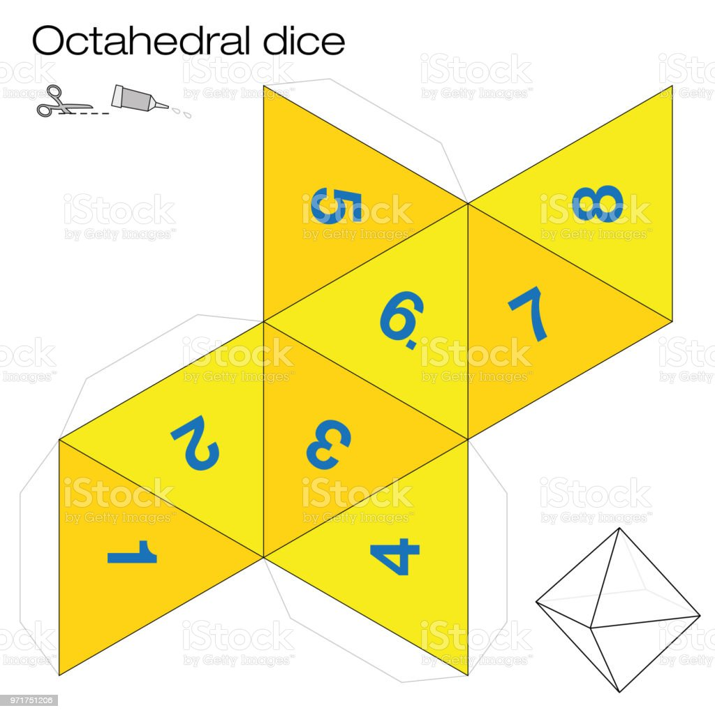 Octahedron Template Octahedral Dice One Of The Five Platonic Solids
