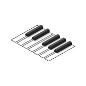 istock Octave piano keyboard for badges or logo. 1195581480