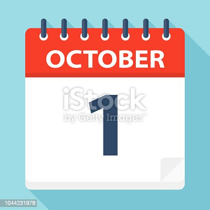 October 1 - Calendar Icon - Vector Illustration