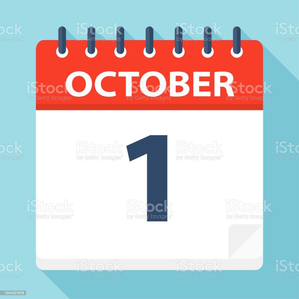 1 octobre - icône de calendrier - Illustration vectorielle
