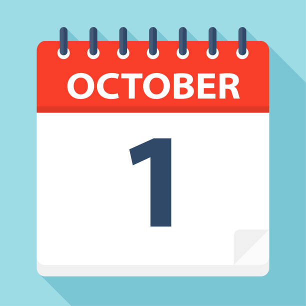 stockillustraties, clipart, cartoons en iconen met 1 oktober - pictogram van de kalender - date