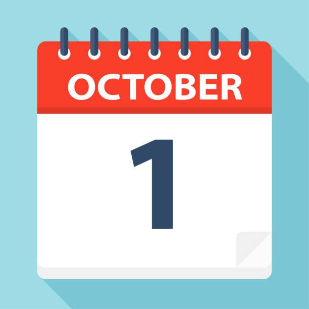 October 1 - Calendar Icon October 1 - Calendar Icon - Vector Illustration date stock illustrations