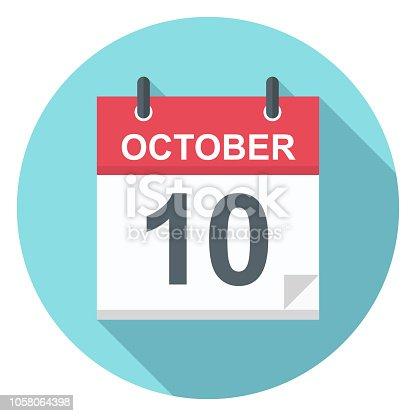 October 10 - Calendar Icon - Vector Illustration