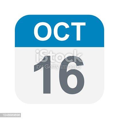 October 16 - Calendar Icon - Vector Illustration