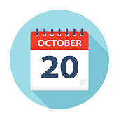 October 20 - Calendar Icon - Vector Illustration