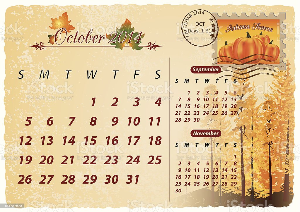 October 2014 calendar - monthly event scheduler royalty-free stock vector art