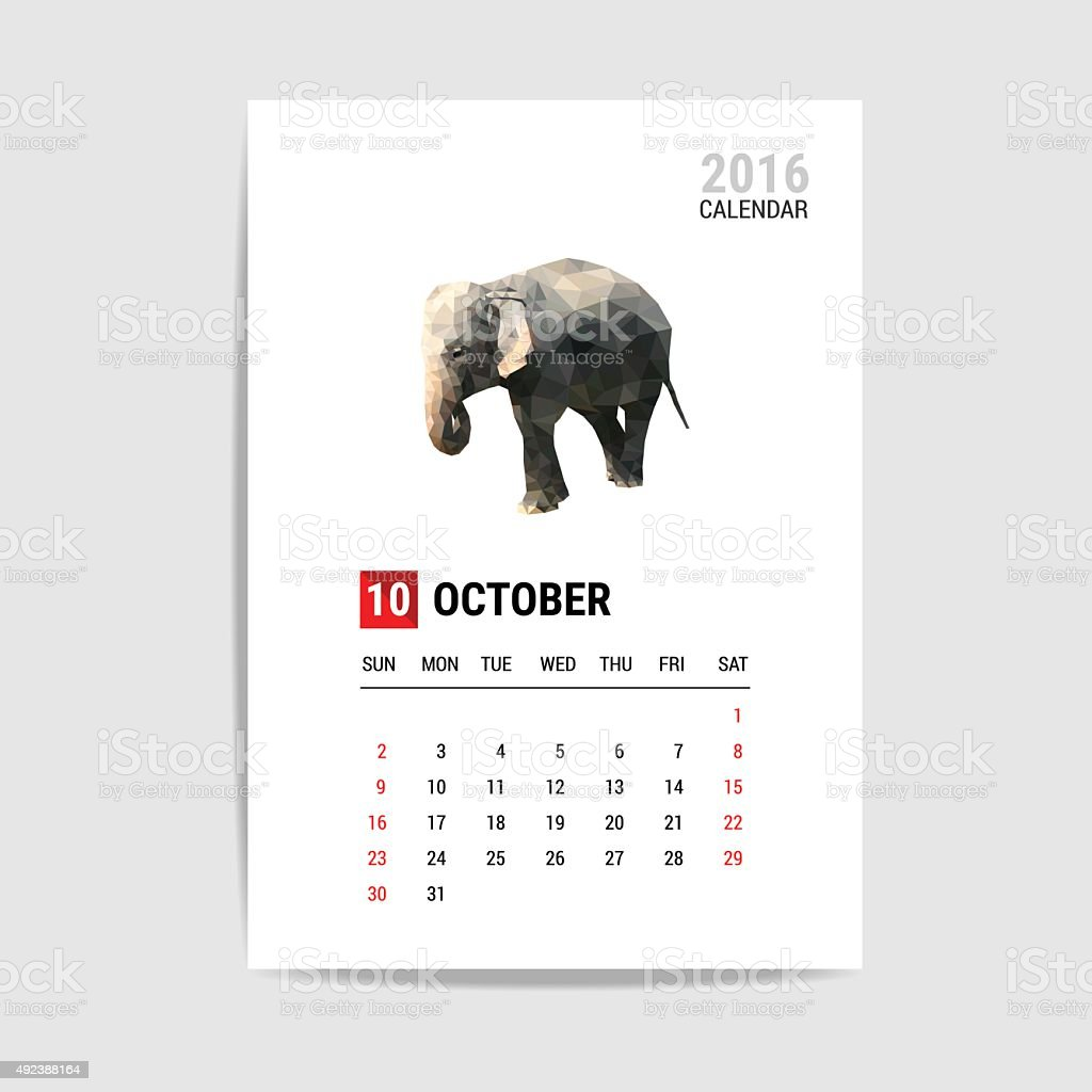 October 2016 calendar, elephant polygon vector vector art illustration