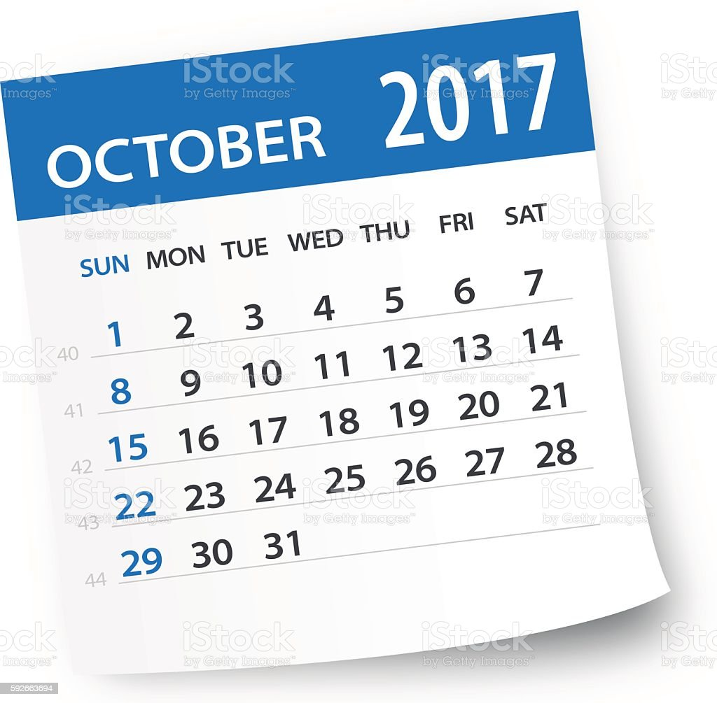 October 2017 calendar leaf - Illustration vector art illustration